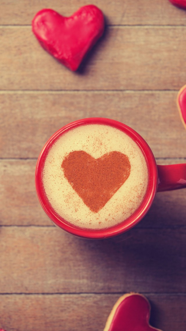 Valentine's Day, love, gift, romance, heart, cup, sign, coffee, crema (vertical)