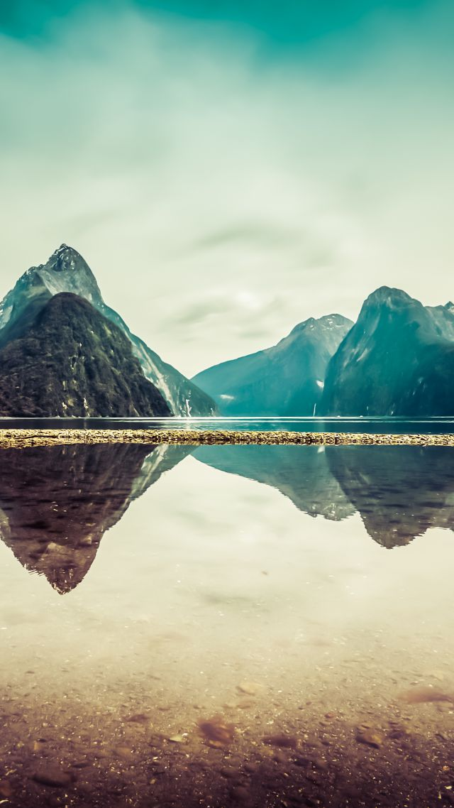 New Zealand, 5k, 4k wallpaper, milford, mountains, river, lake (vertical)