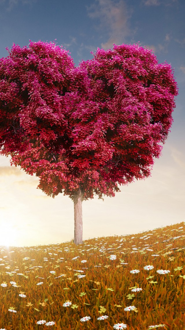 ... 5k, 4k wallpaper, 8k, tree, love, sun (vertical