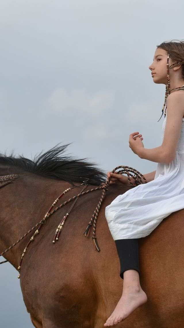 Horse, girl, blond (vertical)