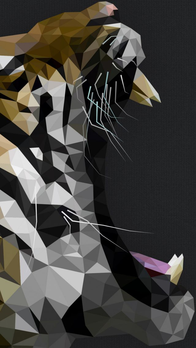 Wallpaper Tiger Polygon Roar Art Animals 5384