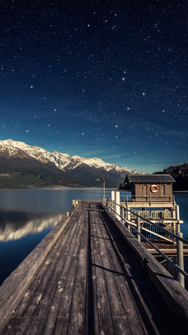 night sky, stars, mountains, bridge, New Zealand
