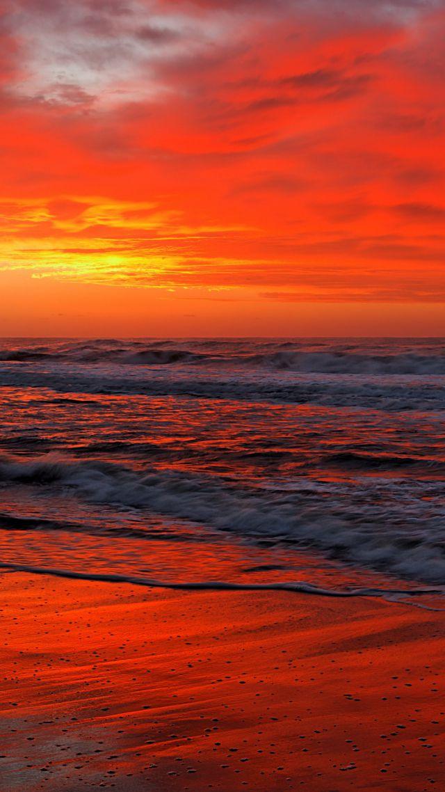 Wallpaper Ocean, 5k, 4k wallpaper, sea, sunset, shore ...