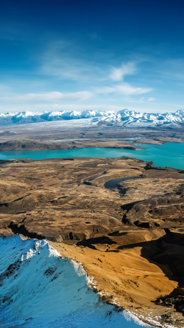 Lake Tekapo, 5k, 4k wallpaper, South Island, New Zealand, booking, rest, travel, mountains, sky, clouds, vacation (vertical)