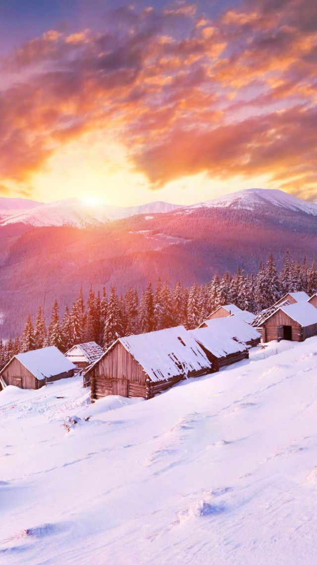 Mountains, 5k, 4k wallpaper, hills, sunset, snow, winter, house (vertical)