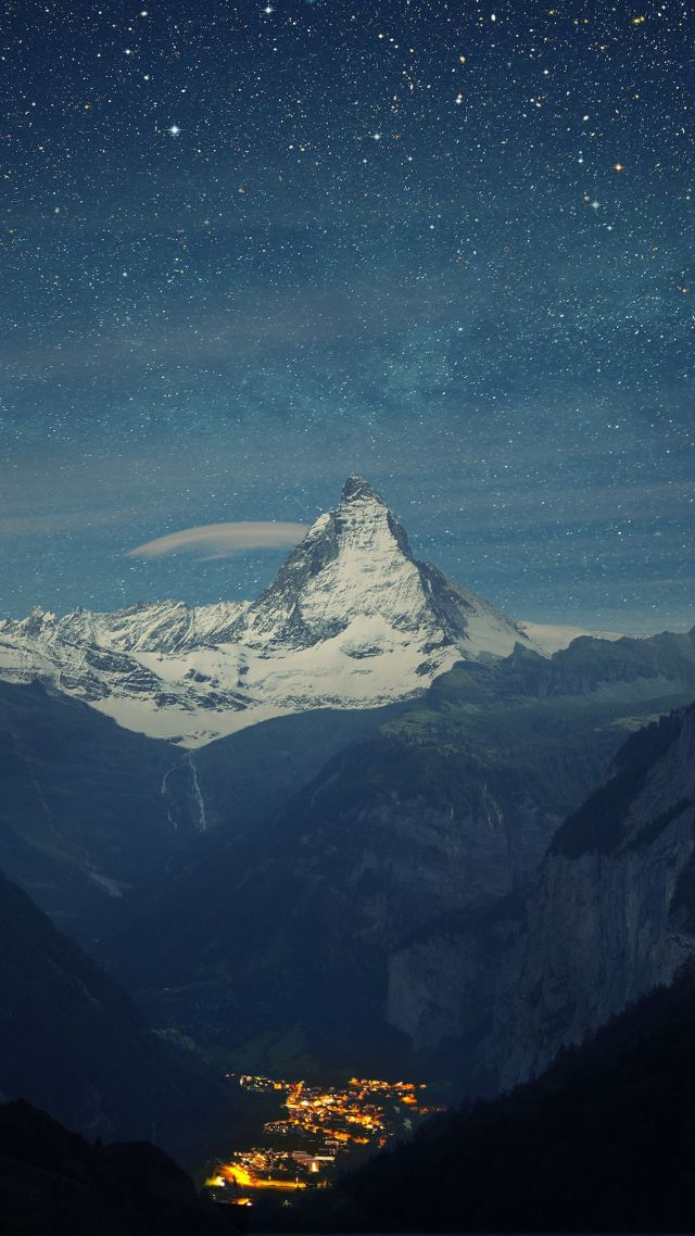 Switzerland, 4k, 5k wallpaper, Alps, mountains, stars, night (vertical)