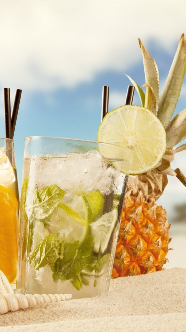 cocktails, ice, fruit, orange, pineapple, beach, summer, sand, shells, sun (vertical)