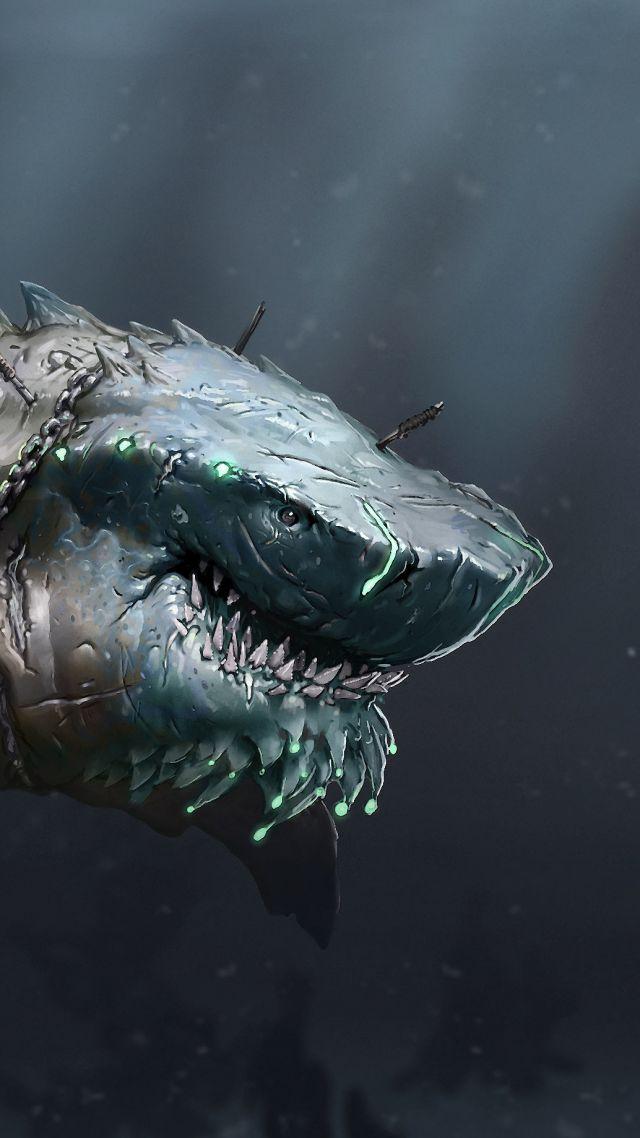 Wallpaper Megalodon Shark Art Animals 5856