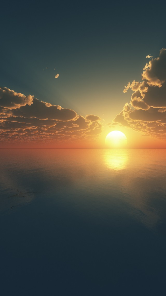 Sky, 4k, HD wallpaper, clouds, sunset, sunrise, water, blue, sea (vertical)