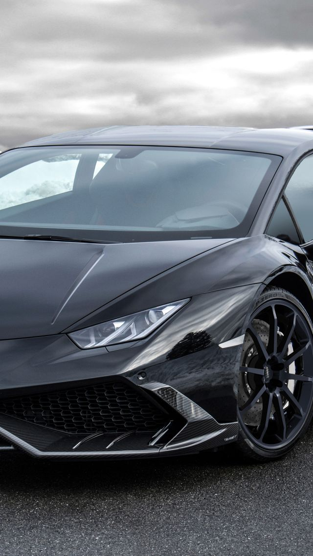 lamborghini huracán, supercar, ice, black. (vertical)