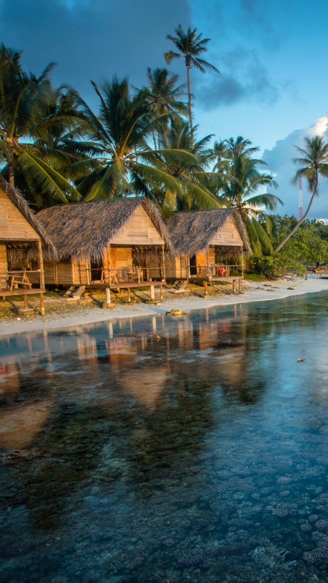 Bungalows, Reef, French Polynesia, water, clouds, palms, World's best ...