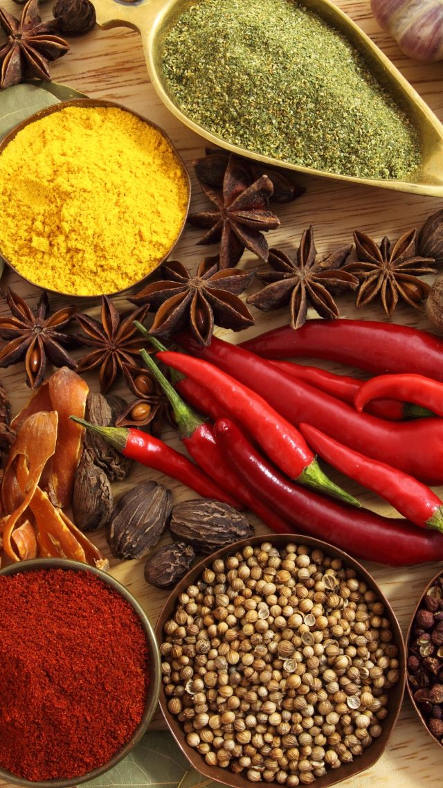 Wallpaper Spice Drops Candy Colorful 4k Lifestyle 7500: Wallpaper Spices, Pepper, Chilli, Basil, Nutmeg, Cinnamon