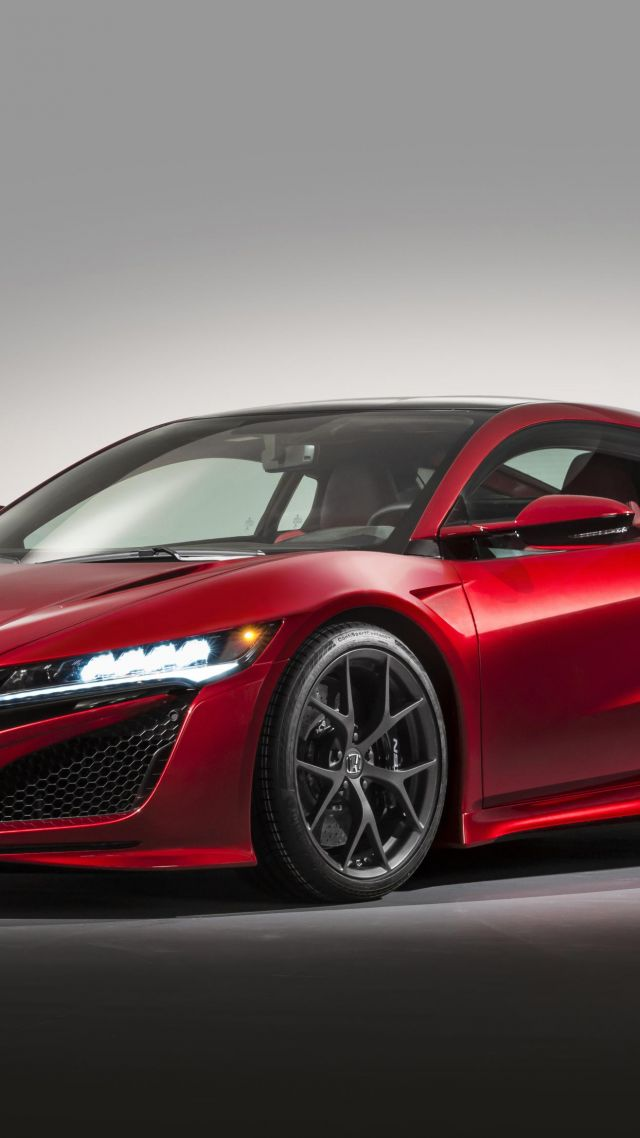 Acura nsx, supercar, coupe, hybrid, red. (vertical)