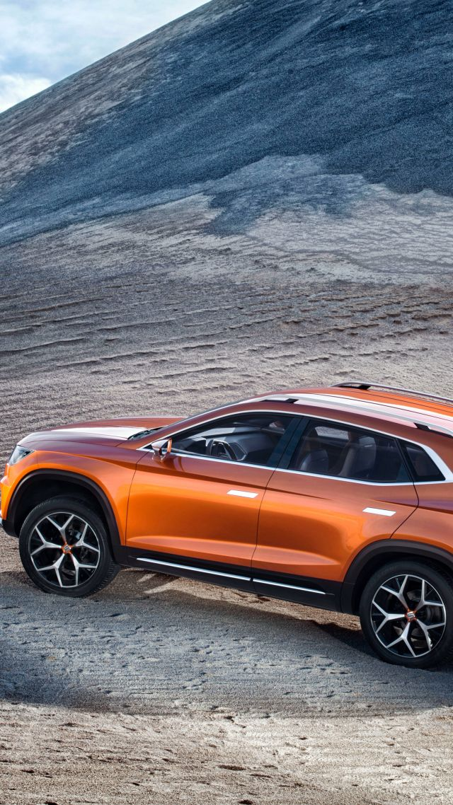 SEAT 20V20, concept, crossover, orange, mountains. (vertical)