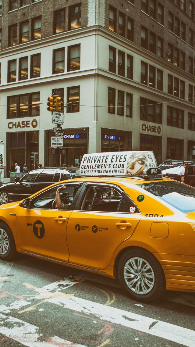 Midtown Manhattan, New York City, traffic, roads, cars, taxi (vertical)