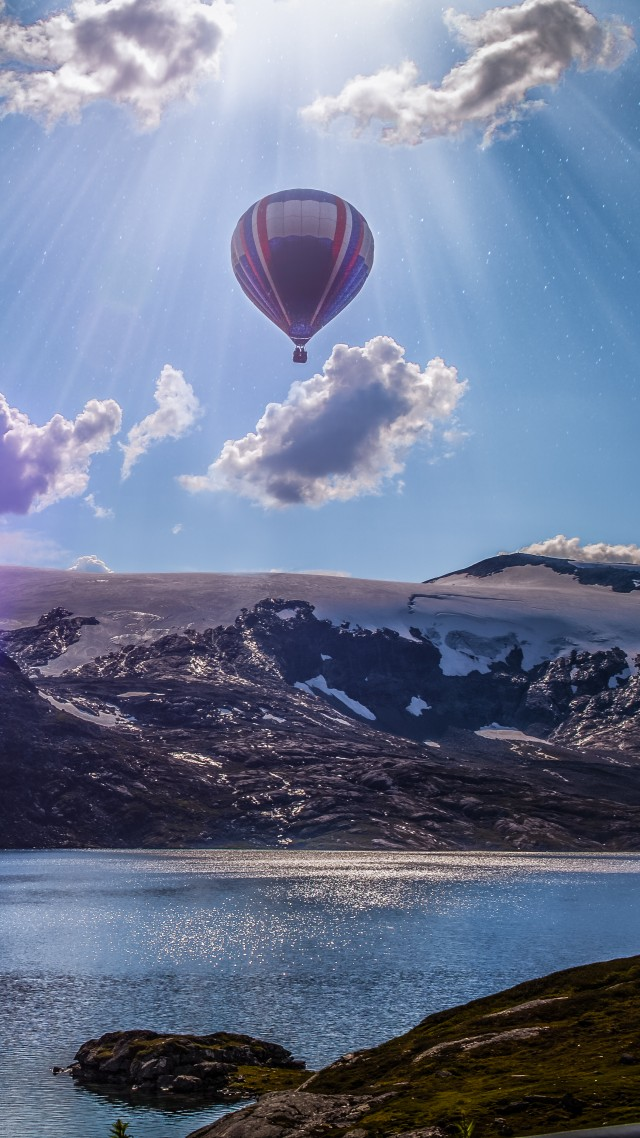 Norway, balloon, lake, mountains, clouds