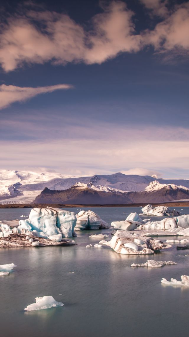 Jökulsárlón Lagoon, 4k, 5k wallpaper, 8k, Iceland, mountains, ice, sky (vertical)