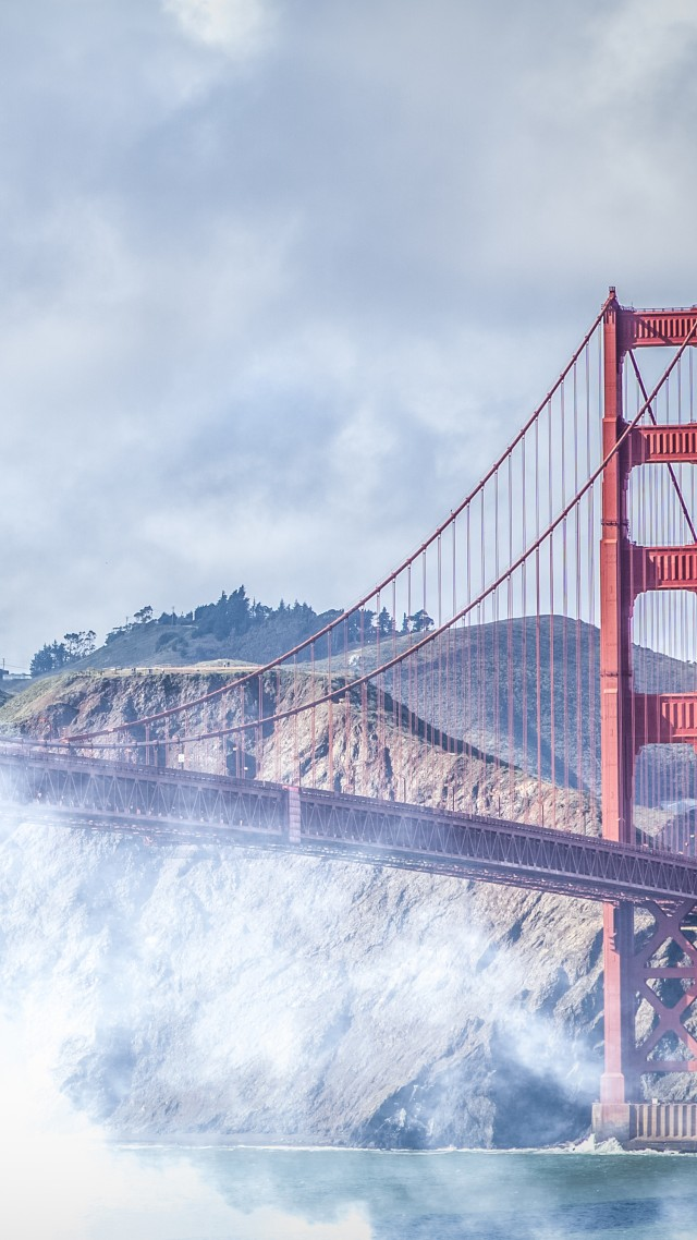 San Francisco, 4k, 5k wallpaper, Golden Gate, USA, fog, bridge (vertical)