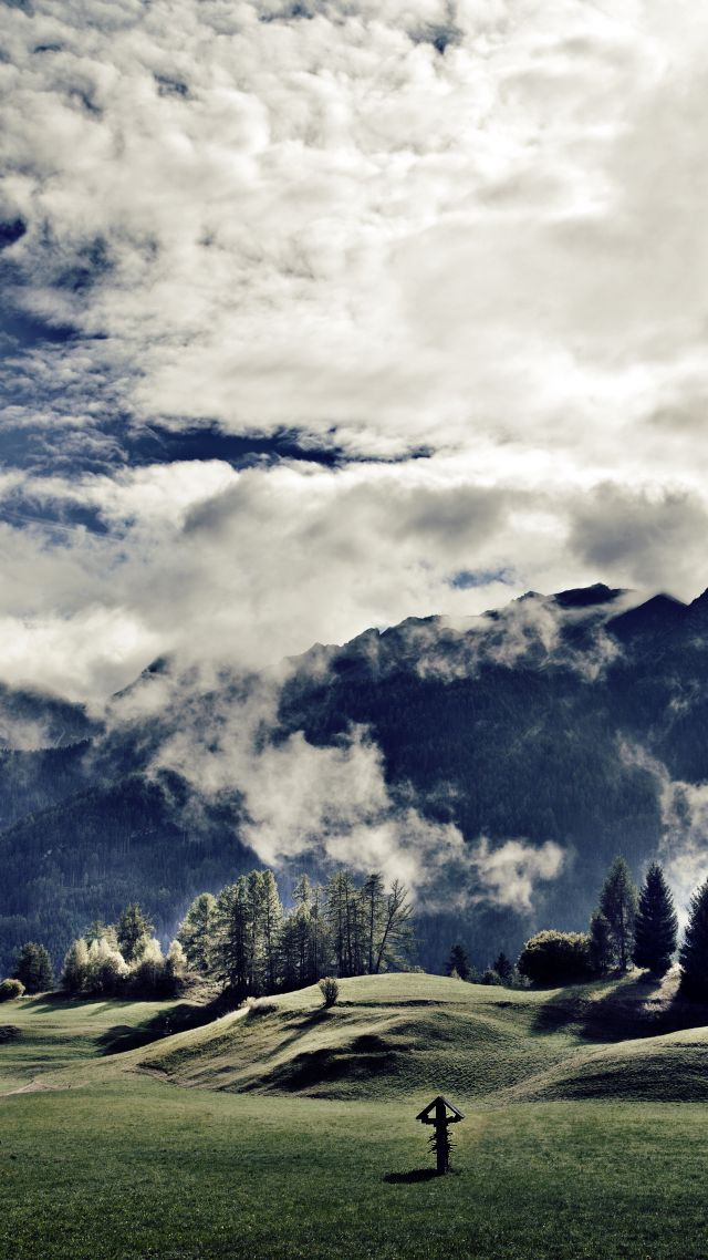 Tirol, 5k, 4k wallpaper, 8k, Austria, mountains, meadows, clouds (vertical)