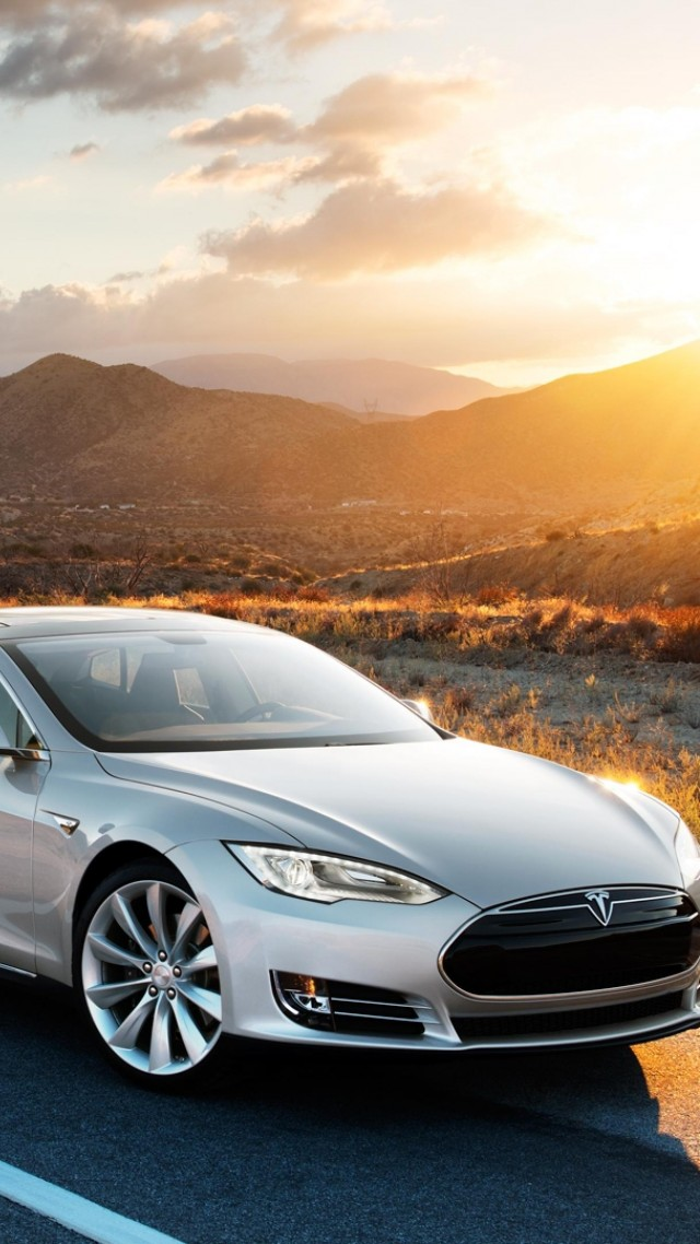 Wallpaper Tesla Model X Electric Coupe Luxery Sunset