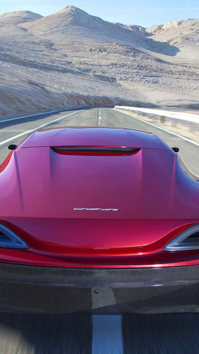 Rimac Concept One, electric, coupe, hypercar, red. (vertical)