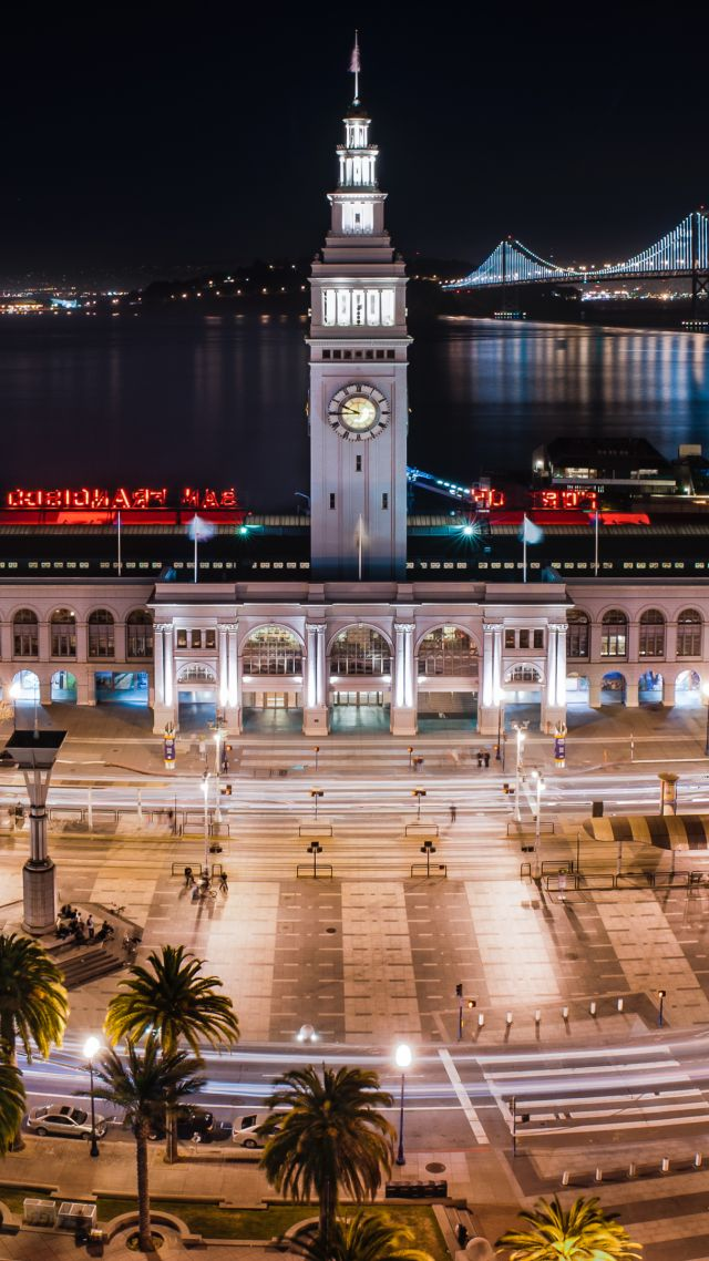 Ferry Building, San Francisco, California, USA, travel, tourism (vertical)
