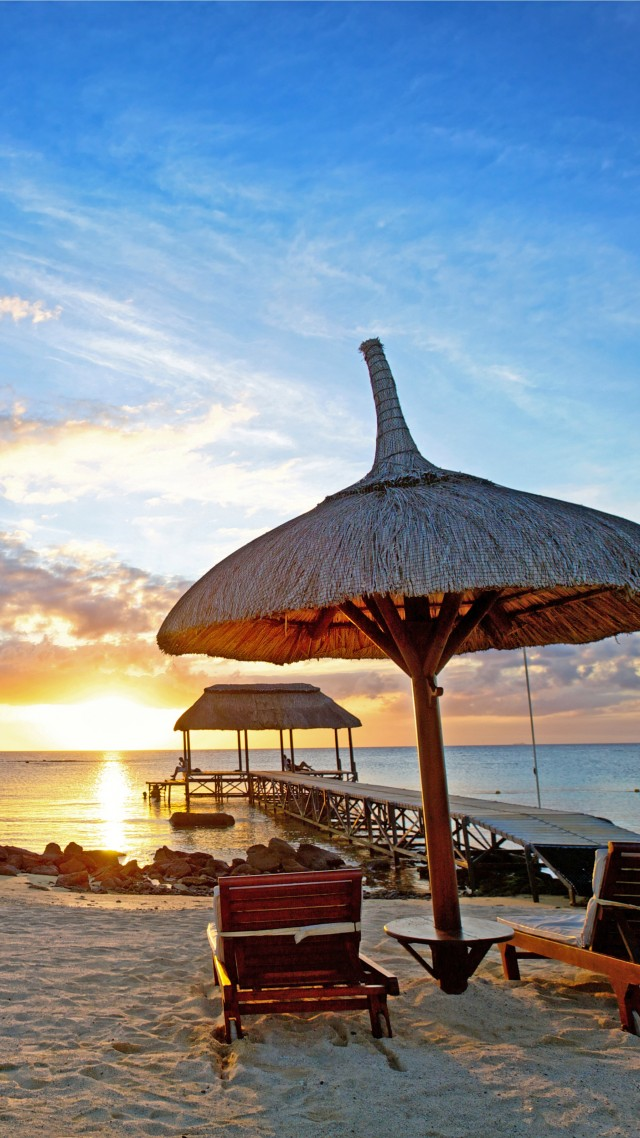Mauritius, sunset, Indian ocean, beach, sand, travel, tourism
