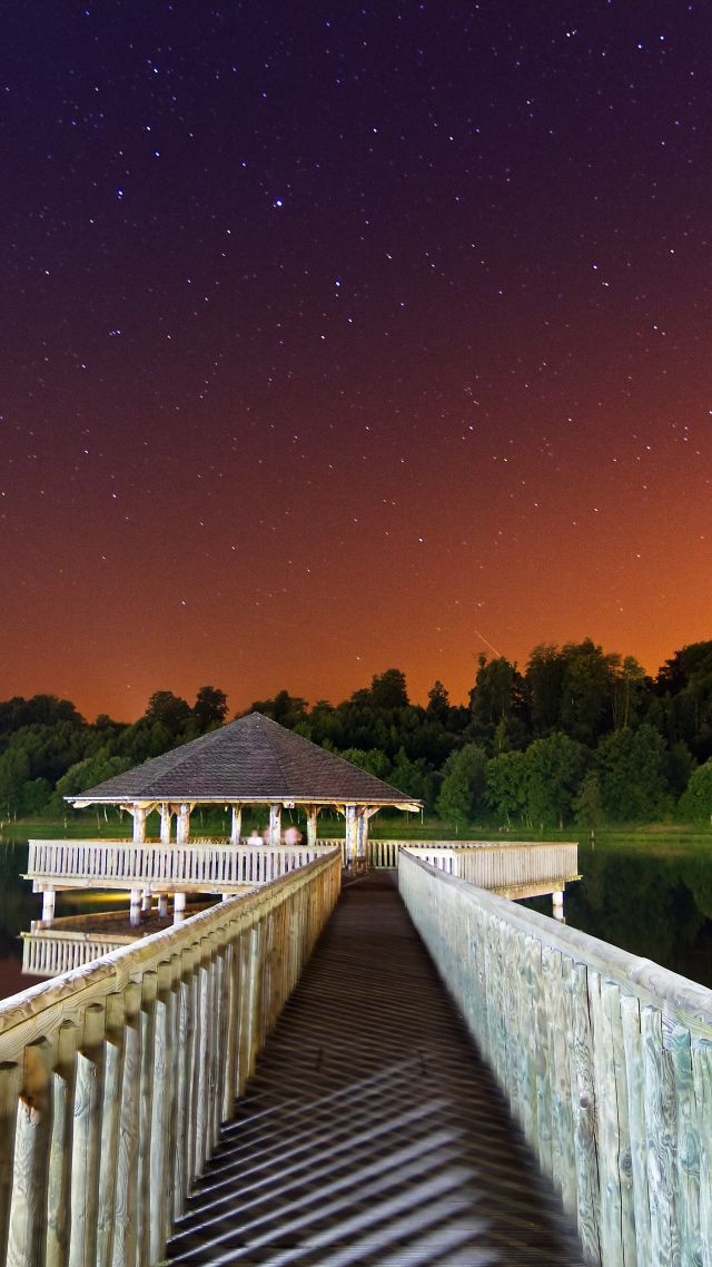 Night, 5k, 4k wallpaper, 8k, sky, stars, pier, lake (vertical)