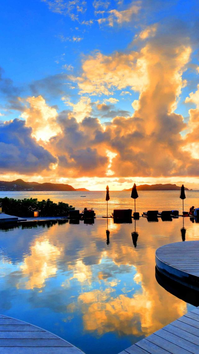 St Barth, 5k, 4k wallpaper, 8k, Hotel Christopher, sunset, pool, travel, tourism (vertical)