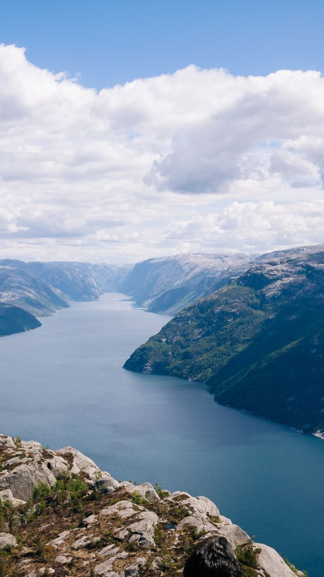 Norway, 5k, 4k wallpaper, river, mountains, clouds (vertical)