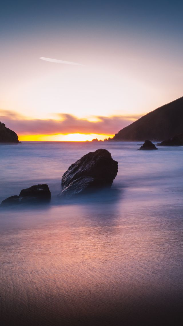 Pfeiffer Beach, 5k, 4k wallpaper, Big Sur, California, USA, Best Beaches in the World, travel, tourism, Sunset (vertical)
