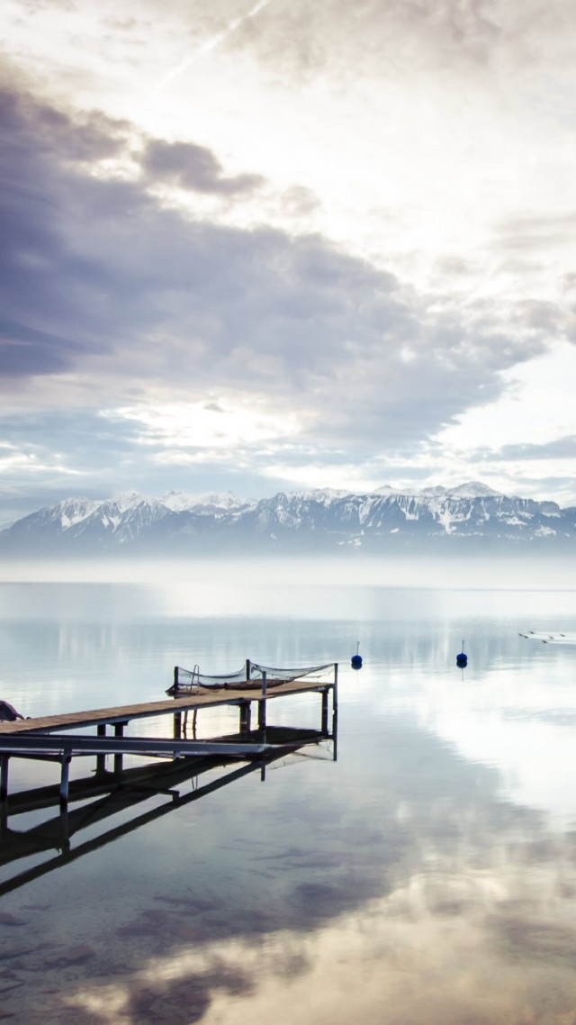 lake, sea, mountains, nature, reflection, water, white, sky, clouds