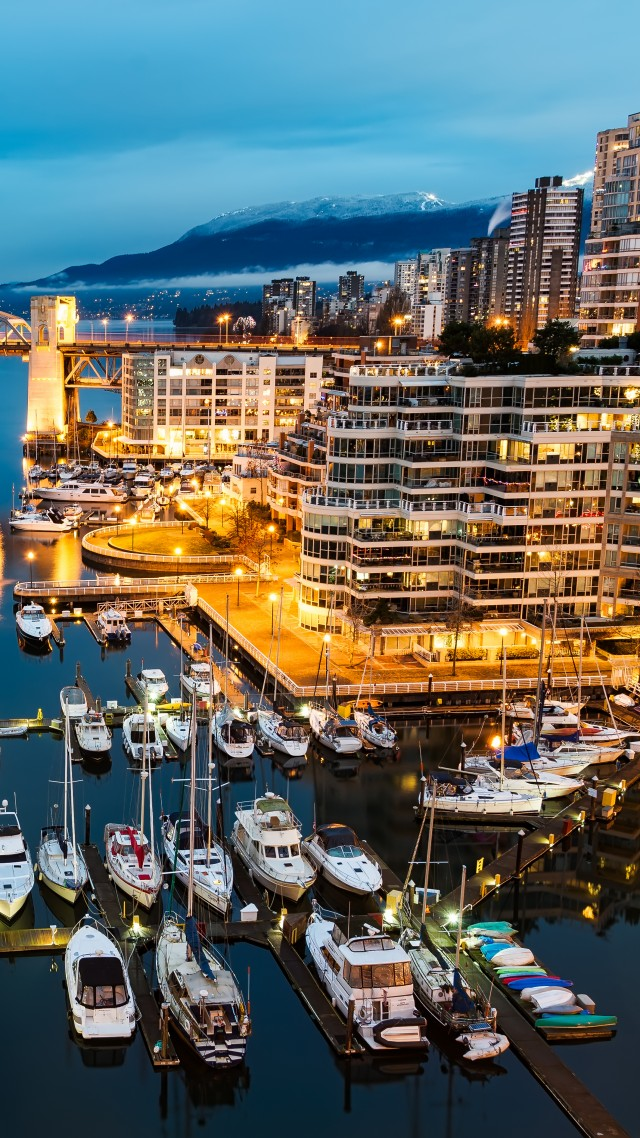 Vancouver, Granville, Island, Canada, night, Morning, lights, boats, blue, water, sea, travel (vertical)