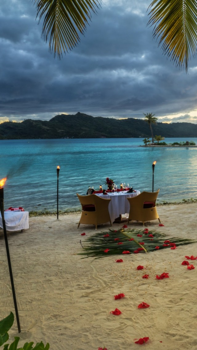 Bora Bora, 4k, HD wallpaper, French Polynesia, ocean, dinner, sunset, fire, torch, palm trees, beach, vacation, rest, travel, booking, palm trees,  (vertical)