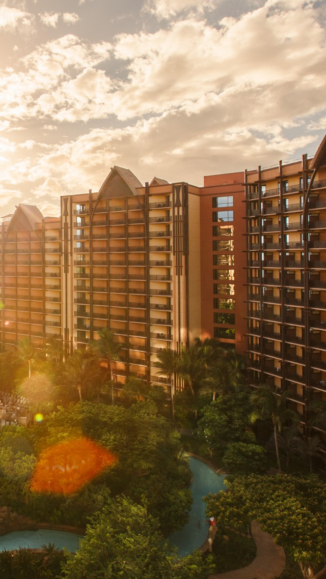 Aulani, disney, resort, spa, hotel, vacation, travel, beach, sea, pool, palm, sky, clouds, booking (vertical)