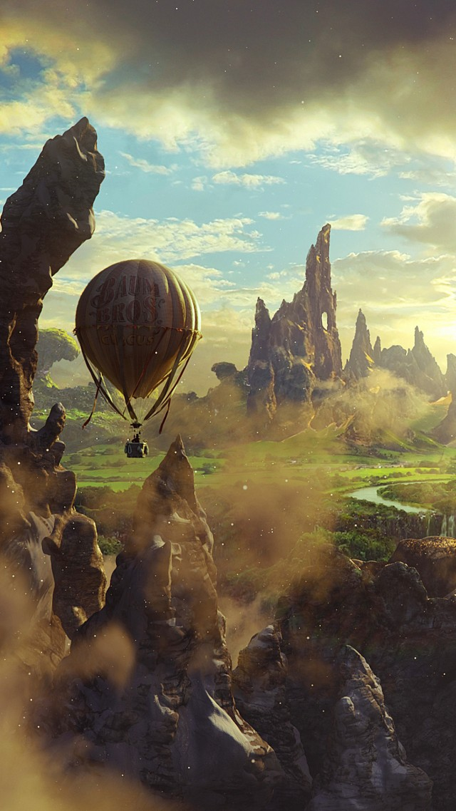 Oz: the Great and Powerful, fantasy, cliffs, baloon, sky