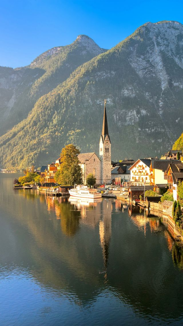 Hallstatt, Gmunden, Austria, tourism, travel, resort (vertical)