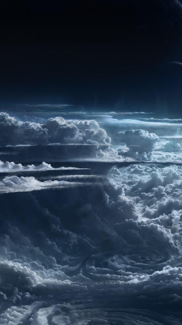 Sky, 5k, 4k wallpaper, clouds, planet, light, atmosphere, cyclone, white, blue (vertical)