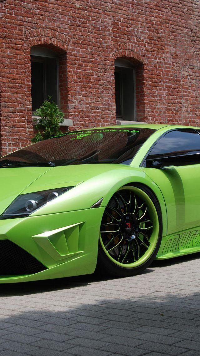 ... Lamborghini Murcielago, Supercar, Green, Frankfurt 2015 (vertical)