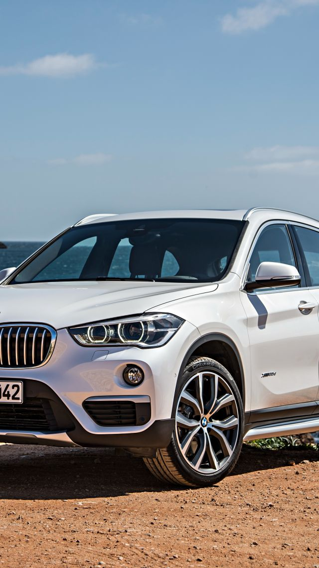 BMW X1, crossover, luxury cars, white, SUV, xDrive, sDrive, Frankfurt 2015 (vertical)