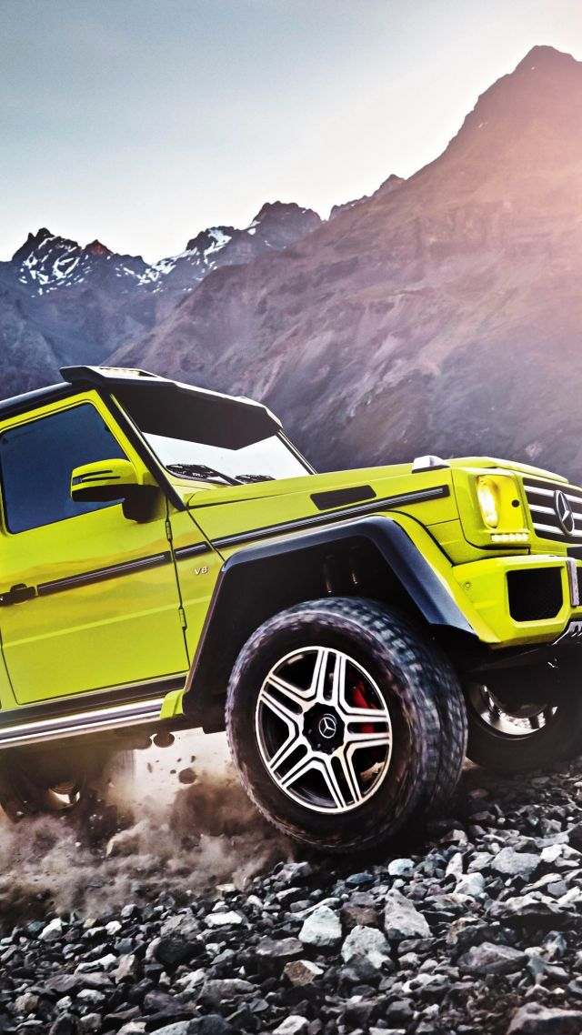 Mercedes-Benz G 500, SUV, Mercedes, G-Class, off-road, yellow, luxury cars (vertical)