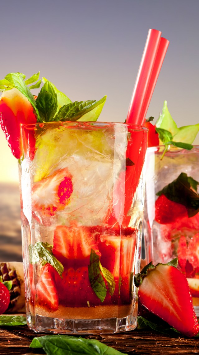 cocktails, tropical, beach, fruit, strawberries, ice, mint (vertical)