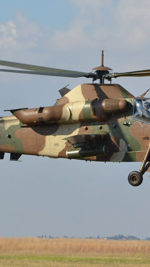 Denel AH-2 Rooivalk, attack helicopter, South African Air Force (vertical)