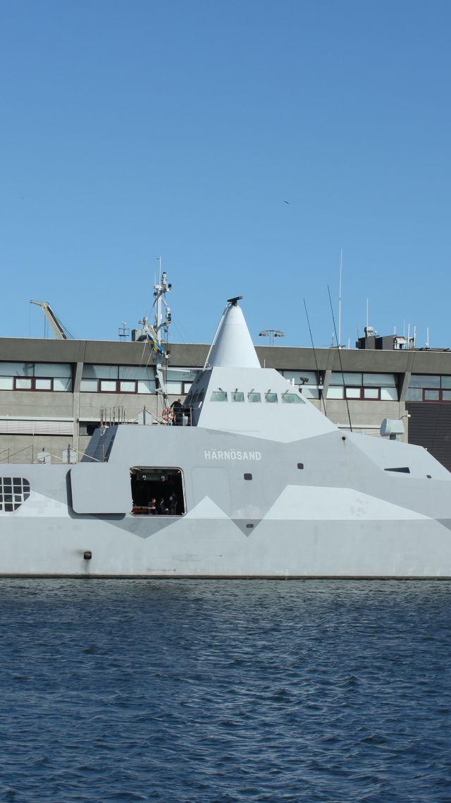 Wallpaper K33, HMS Härnösand, Visby class, corvette, Swedish