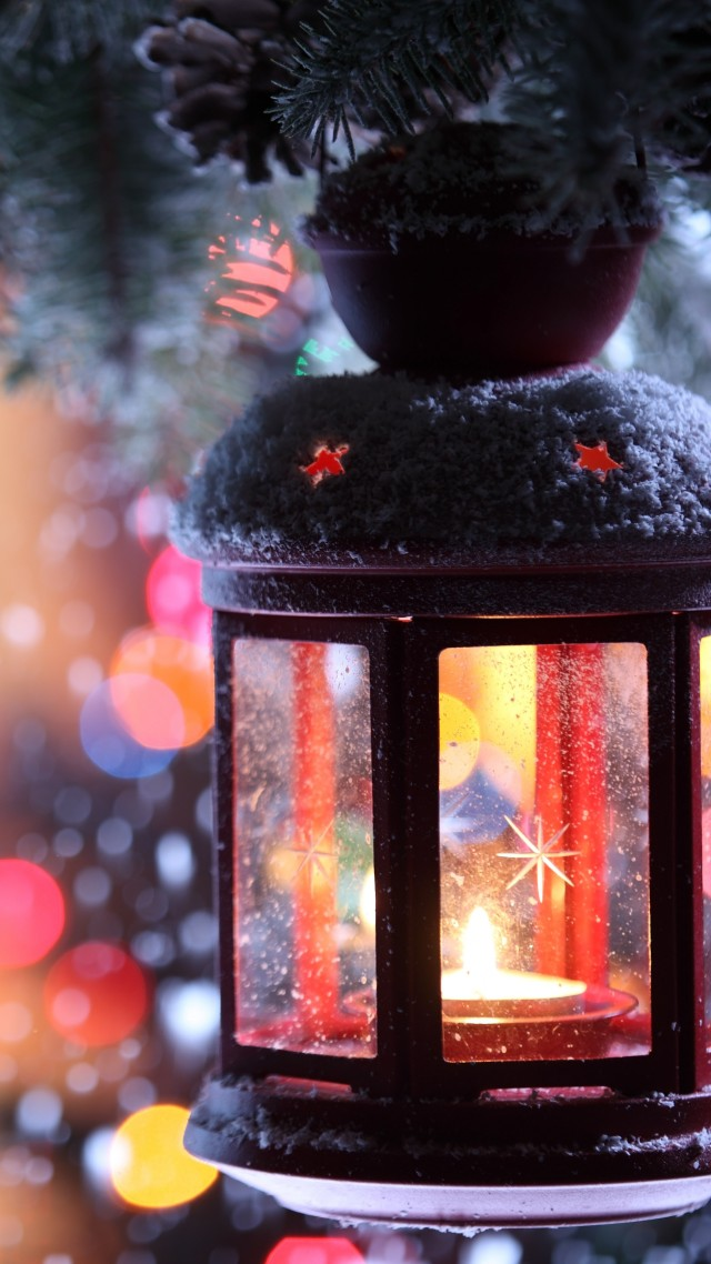 Christmas, New Year, Candle, Torch Branch, Snow, Winter, Snowflakes, decorations