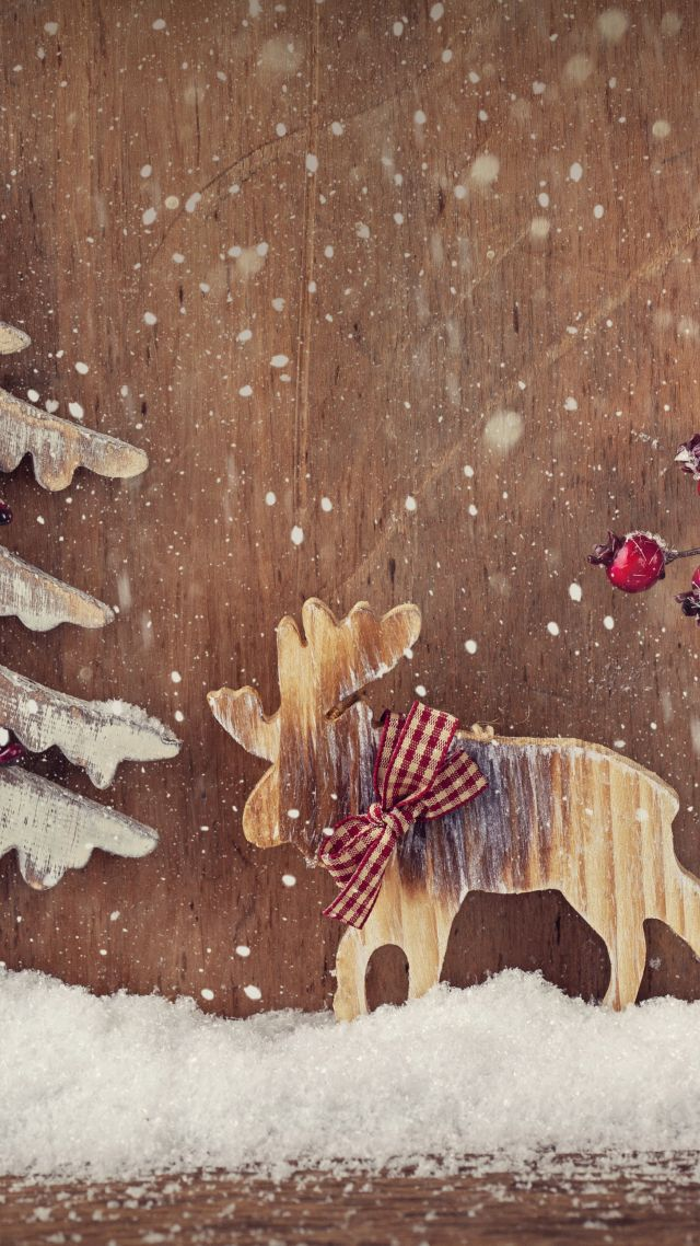 Wallpaper Christmas New Year Deer Fir Tree Elk
