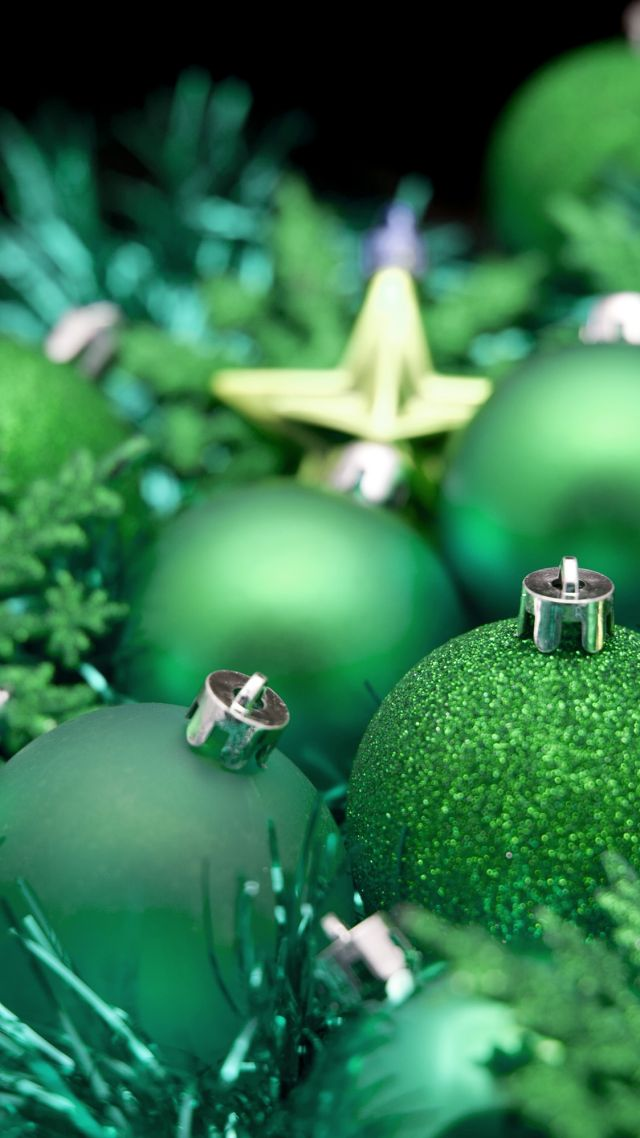 Christmas, New year, balls, decorations, star, green (vertical)