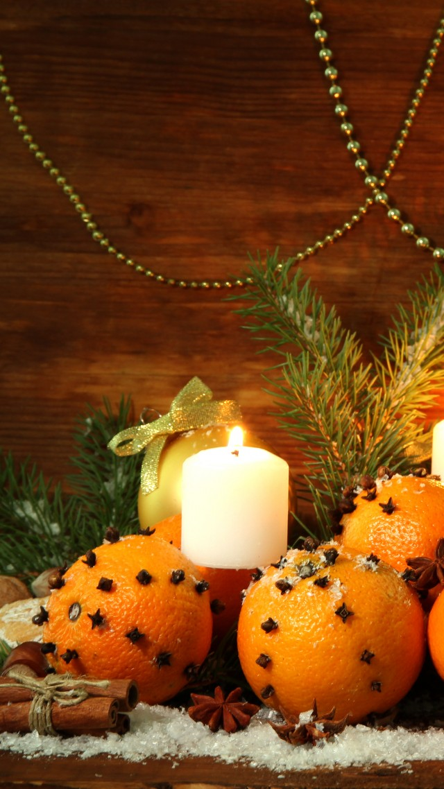 Christmas, New Year, candle, star, decorations, balls (vertical)