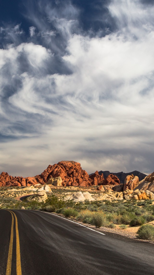 Las Vegas, 4k, HD wallpaper, 5k, the Valley of Fire State Park, road, clouds, mountain, valley, day, sky (vertical)