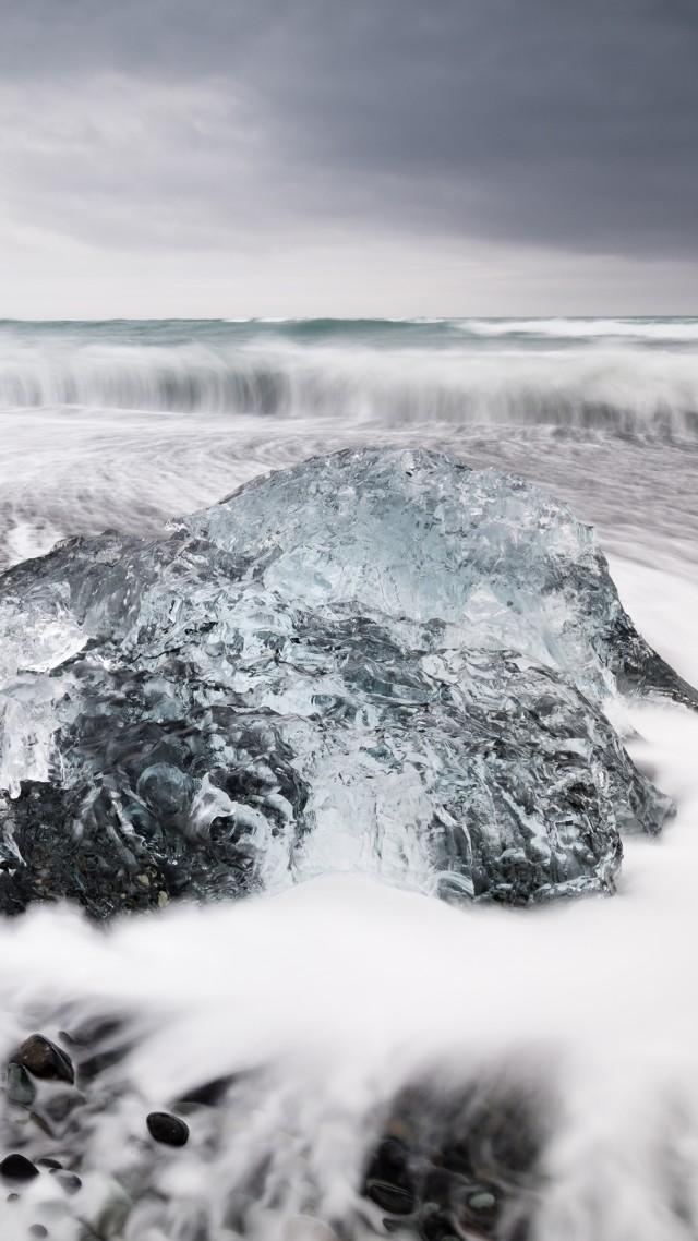 Wallpaper Iceland 4k Hd Jokulsarlon Beach Ice Block Lagoon Black